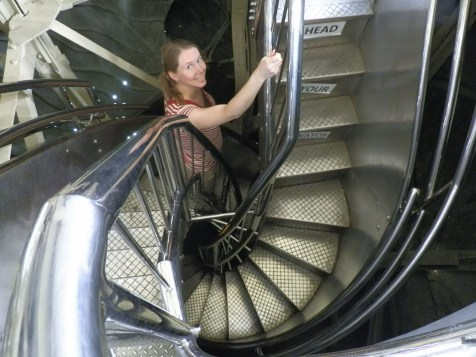 These two tightly wound spiral staircases carry visitors to and from the crown of the Statue of Liberty. One is for going up; the other for going down.