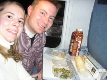 On board the train back to Montréal. Dustin bought this delicious dinner at a convenience store just before we went to Québec City's Gare du Palais to board our train.