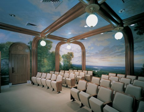 Ordinance room. Murals on the walls and ceiling depict the plants and landscape of the Hudson Valley north of New York City.