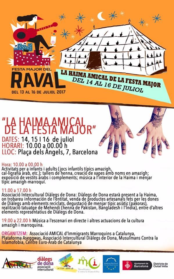 Información de la Haima de diàlegs de dona a la Festa Major del Raval 2017