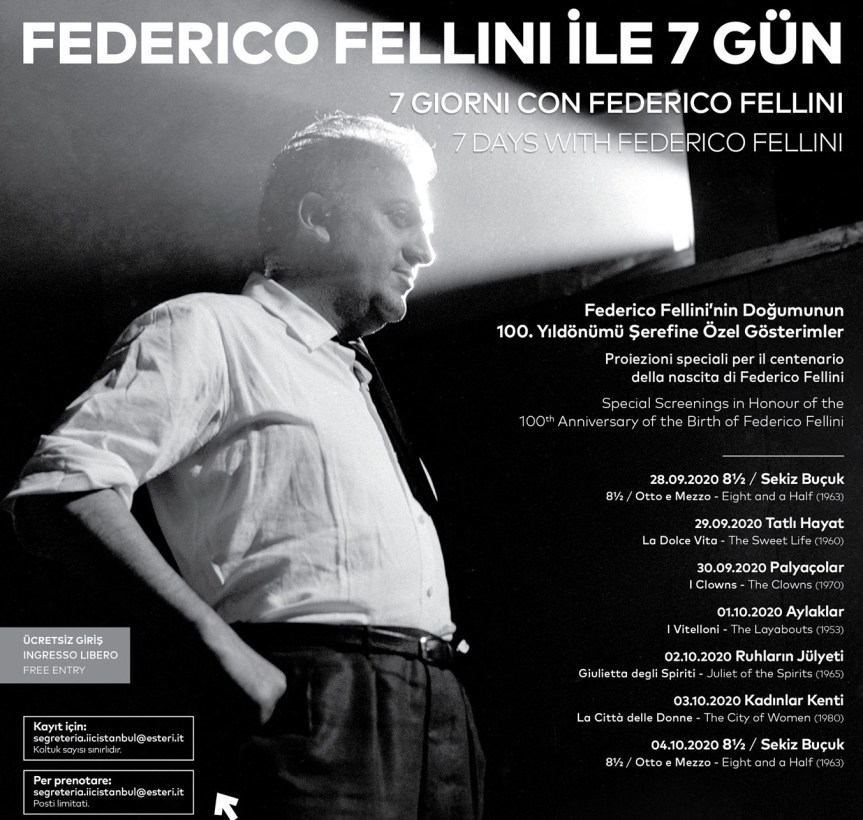 FELLINI 100 Yaşında! İstanbul İtalyan Kültür Merkezi, Fellini Sinemasını Bir Dizi Etkinlikle Kutluyor