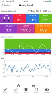 Inner Balance app screen shot today