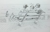 People at beach in ink