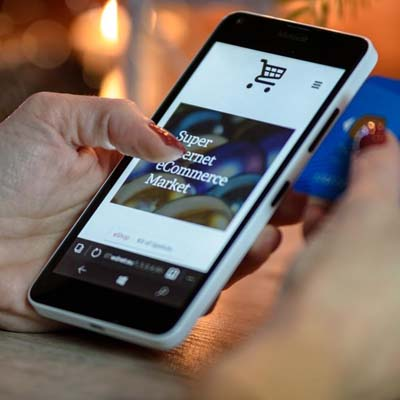 Online shopping on phone