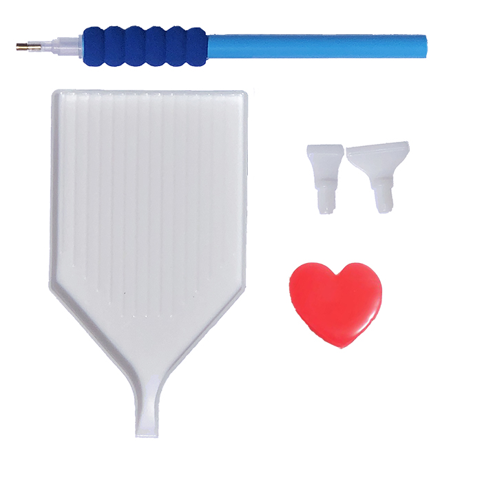 blue drill pen grip tray heart glue wax pointed tweezers multiplacer