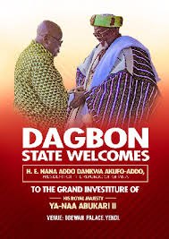 •Preparation are far advanced ahead of the investiture  of His Royal Majesty YaaNaaMahamaAbubakari (NaaGarba II) in Yendion Friday