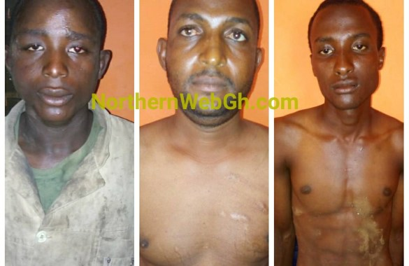 three fulani headsmen arrested in connection with two separate robbring incidents at  Wiae-Nanjero in the Kpandai District