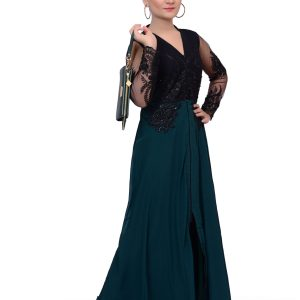 Green and Black Gown