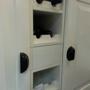 Same handles used in a vertical application, causing the user to have to dislocate a shoulder just to open these tall cabinets!