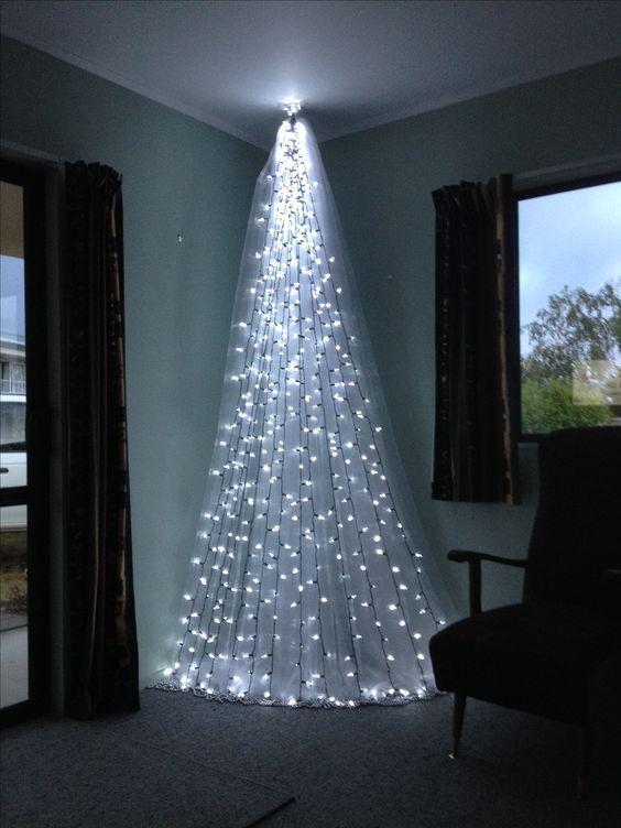 Top 6 Alternative Christmas Tree Ideas - Sheer Curtain