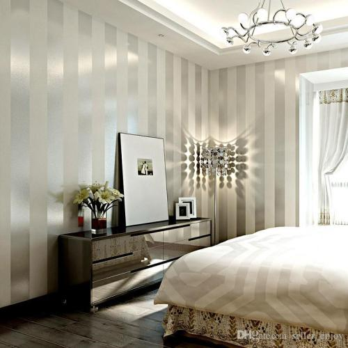 metallic stripe feature wall