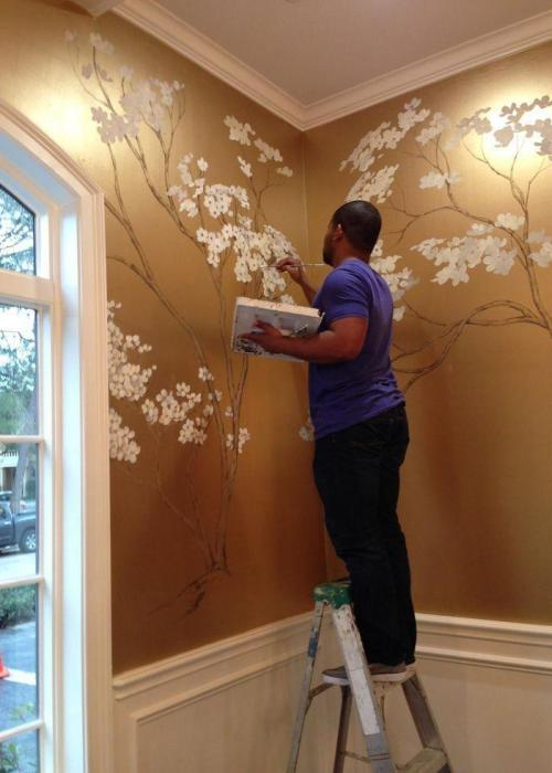gold painted featue wall