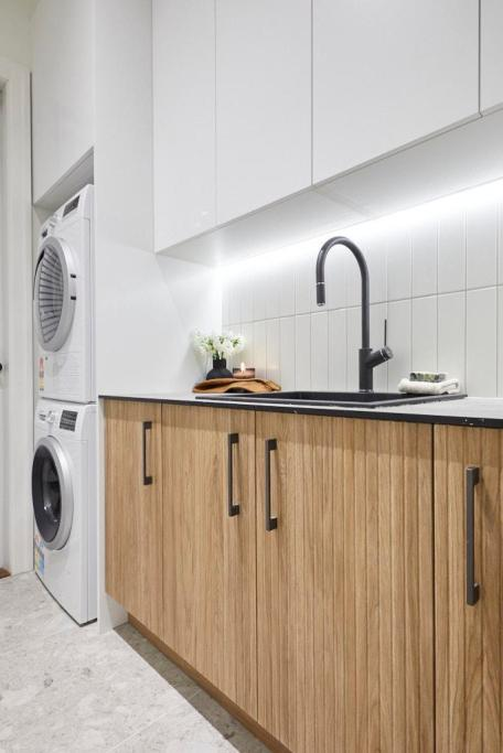 laundry design timber cabinets