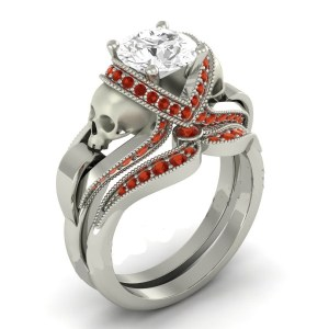White Diamond Skull Ring with small Ruby Diamond