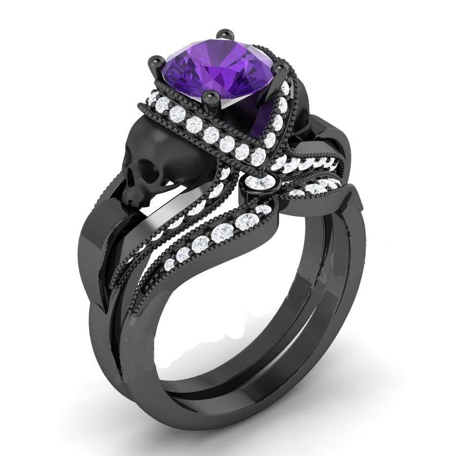 purple sapphire diamond skull ring � diamond loops