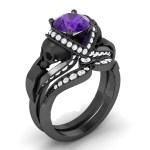 Purple & Black Skull Ring