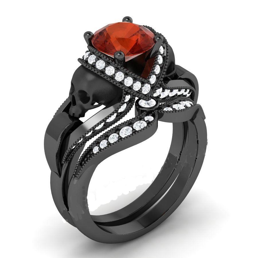 red diamond black skull ring � diamond loops