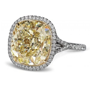 Yellow Fancy Cushion Halo Solitaire Engagement Ring