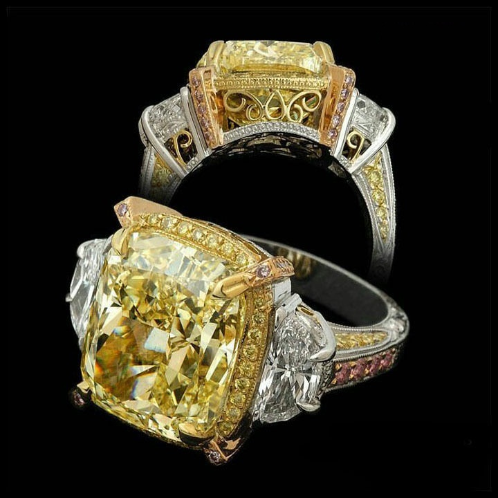 Canary Yellow Gold Ring With White Diamond Men
