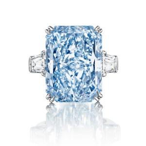 24 Ct Aqua Blue Emerald Cut Celebrity Inspired Ring
