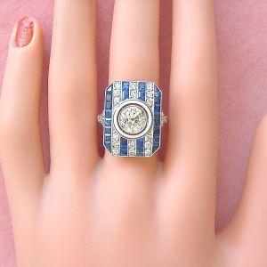 ANTIQUE ART DECO DIAMOND SAPPHIRE COCKTAIL RING c1930