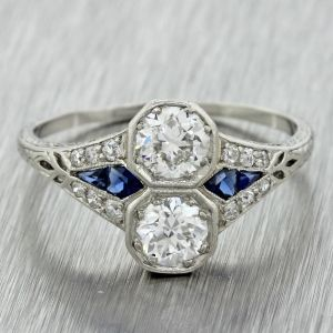 Two Round Diamond & Sapphire engagement ring