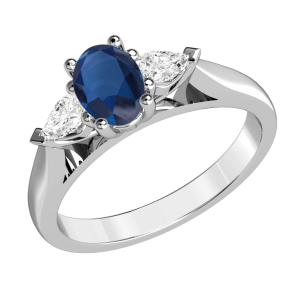Oval & Pear Cut Three Stone Engagement Ring 2.40 Ctw