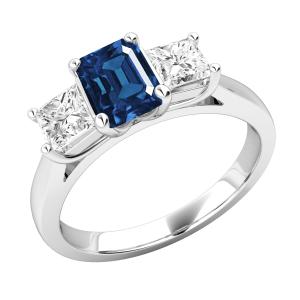 Emerald & Princess Cut Engagement Ring 3.20 Ctw
