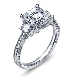 White Asscher Cut Three Stone Engagement Ring 4.77 Ctw