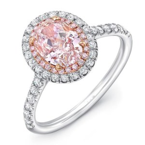 Pink Oval Cut Wedding Engagement Ring