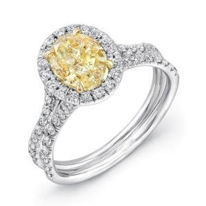 Oval Fancy Yellow Diamond Halo Engagement Ring 3.85