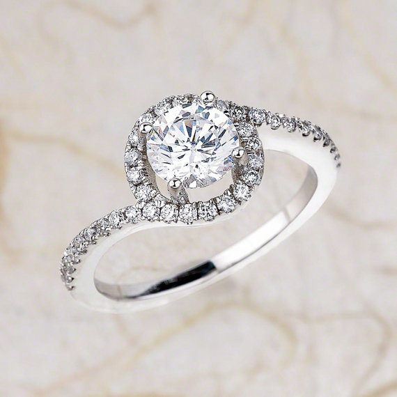 f46f36358f29a Simple Round Cut Diamond Beautiful Engagement Promise Ring 925 Sterling  Silver