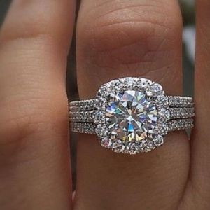 2.40CT Brilliant Cut Diamond Engagement Ring 2 Band Set 925 Sterling Silver