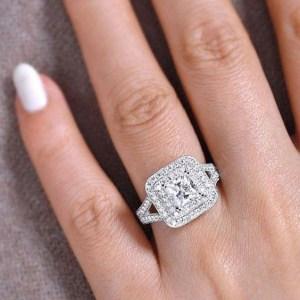 Princess Cut Split Shank Double Halo Diamond Engagement Ring 925 Sterling Silver