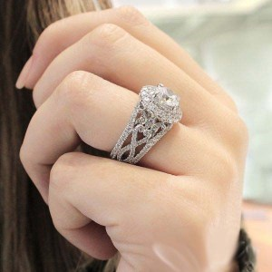 Twisted Unique Double Halo Diamond Engagement Dream Ring 925 Sterling Silver