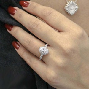 Oval Cut Double Halo Pave Diamond Engagement Ring 925 Sterling Silver