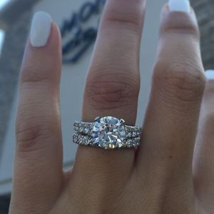 Solitaire Round Cut Diamond Engagement Wedding Ring Set 925 Sterling Silver