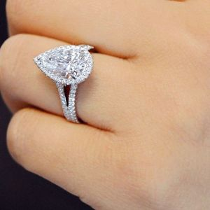 Pear Cut Split Shank Halo Diamond Engagement Ring 925 Sterling Silver