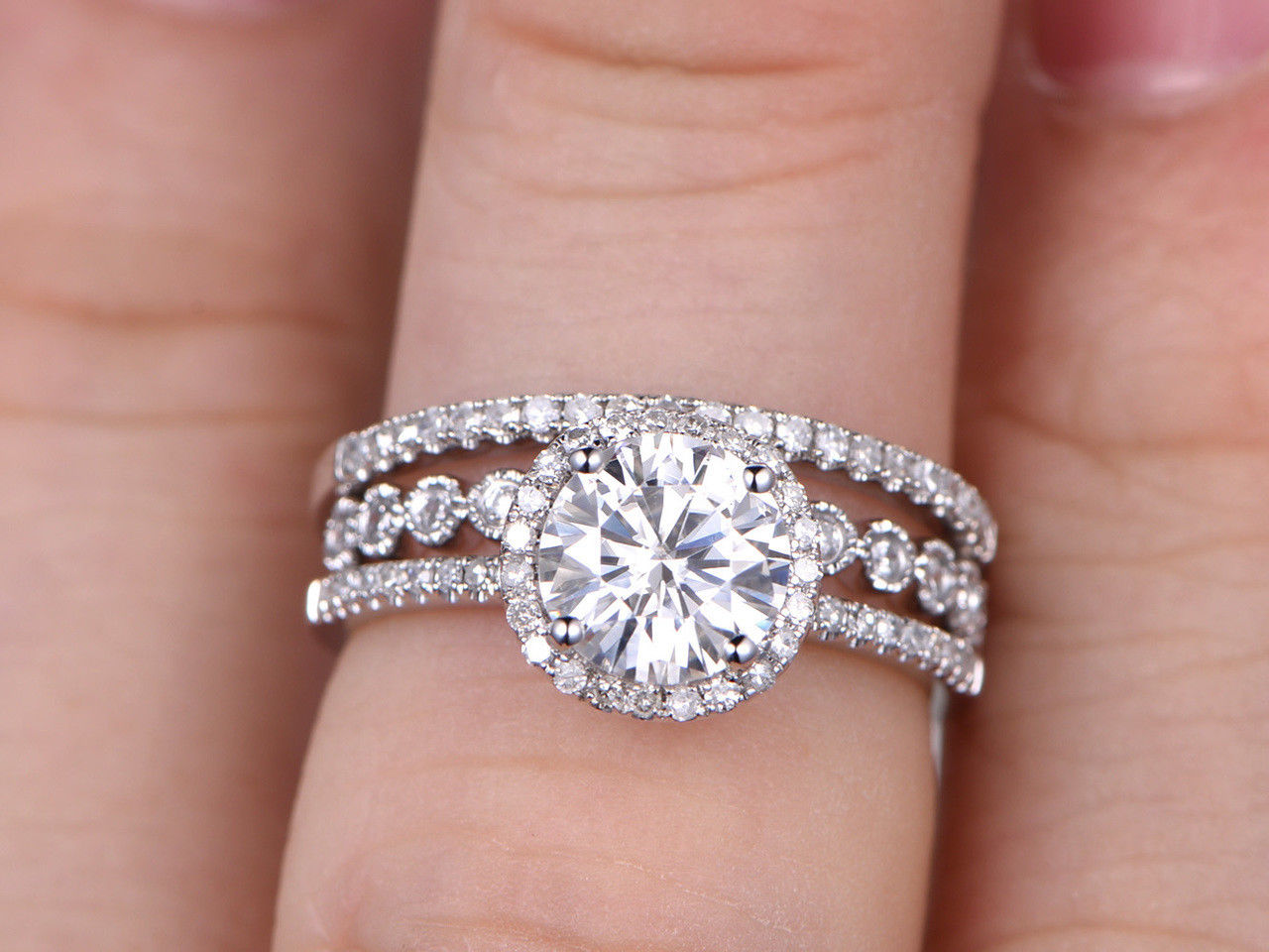 1.76Ct Round Cut White Moissanite Engagement Wedding Ring Set 925 ...