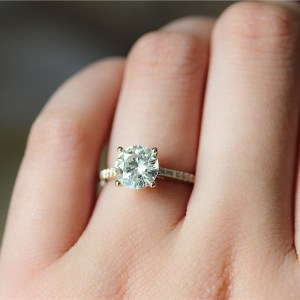 Certified 1.65Ct Near White Moissanite Diamond Engagement Wedding Ring 14k Yellow Gold