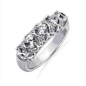2.Carat Real Round Shape VVS1 Moissanite 5 Stone Engagement & Wedding Ring 14k White Gold