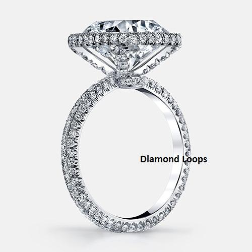 f60140c6d 2.Ct Cushion Cut White Diamond Micro Pave Engagement & Wedding Ring ...