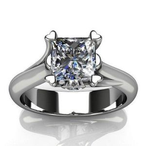 2.Carat Forever Princess Cut Diamond Solitaire Engagement Ring 925 Sterling Silver