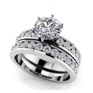2.15Ct Round Cut White Moissanite Solitaire Engagement Ring Bridal Set 14k White Gold