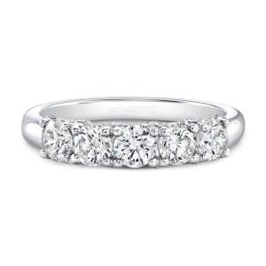 5 Stone 1.79Ct Round White Diamond Engagement Ring Anniversary Ring 14k White Gold