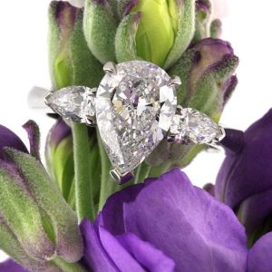 New 3 Stone Pear Diamond 2.20Ct Solitaire Engagement Ring in 14k White Gold
