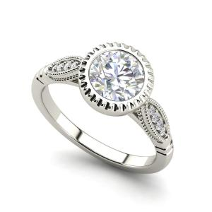 1.65Ct Bezel Set White Diamond Classic Engagement Party Ring 925 Sterling Silver