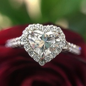 2.00Ct Heart Shape Halo Diamond Engagement Ring Proposal In 14k Solid White Gold
