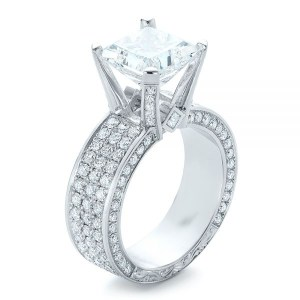 2.50Ct Princess Cut Diamond Micro Pave 4-Prong Engagement Wedding Ring Solid 14k White Gold