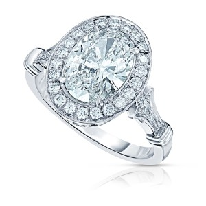 2.30Ct White Oval Diamond Vintage Style Halo Engagement Ring 925 Sterling Silver